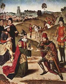 Meeting of Abraham and Melchizedek — by Dieric Bouts the Elder, 1464–67