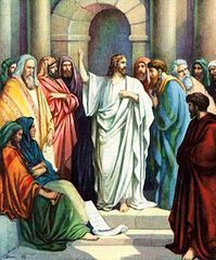 Jesus teaching in the Temple, from the book Standard Bible Story Readers, Book Five (1928) Authors O. A. Stemler and Bess Bruce Cleaveland