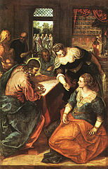 Jesus at the home of Martha and Mary by Tintoretto, 16th century.