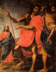 "Jesus (on the left) is being identified by John the Baptist as the ""Lamb of God who takes away the sins of the world"", 17th century depiction by Vannini."