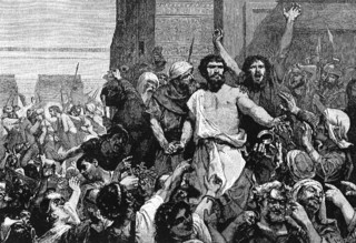 """""""Give us Barabbas"""" Illustrations from volume 9 of The Bible and its Story Taught by One Thousand Picture Lessons, edited by Charles F. Horne and Julius A. Bewer, published in 1910."""
