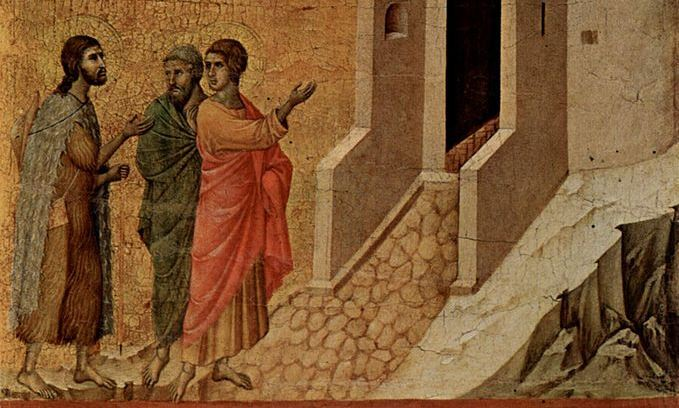 On the Road to Emmaus - ~1310 - Duccio (1260–1318)